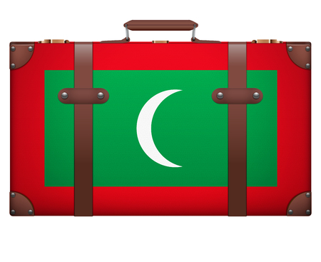 resettlement: Classic luggage suitcase with flag Maldives for travel. Isolated on white background.