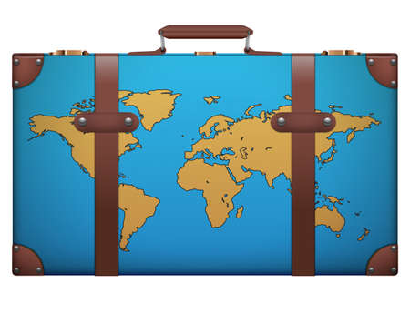 resettlement: Classic vintage luggage suitcase with map for travel. Isolated on white .