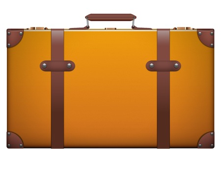 resettlement: Classic vintage luggage suitcase for travel. Isolated on white .