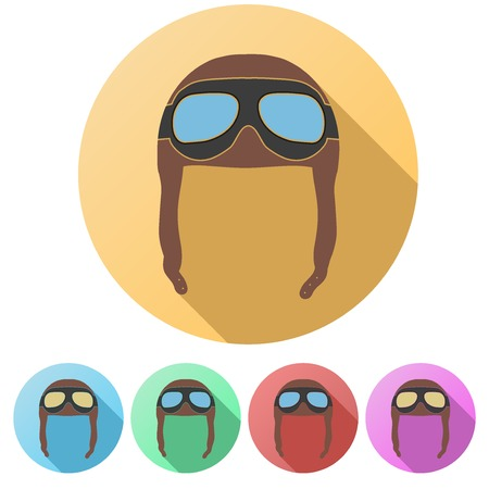 Set Flat icons of Retro aviator pilot leather helmet with goggles. Vintage object. Vector Illustration. Isolated on white