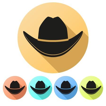 cowboy hat: Set Flat icons of Black cowboy hat traditional symbol. Vector Illustration Isolated on white background. Illustration