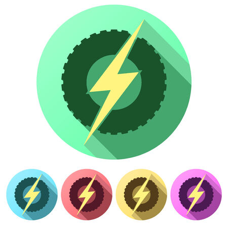 automobile industry: Set Flat icons of round wheel with lightning. Eco electric transport theme. Car and automobile industry. Vector Illustration isolated on white background.