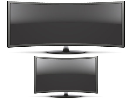 frontal view: Set of Frontal view of big and classic curved widescreen led or lcd tv monitor. Vector Illustration isolated on white Illustration