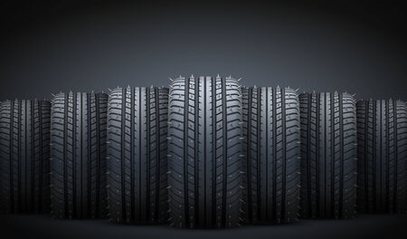 snow tire: Dark Background of Realistic rubber tires and spikes banner. Front view. Vector Illustration.