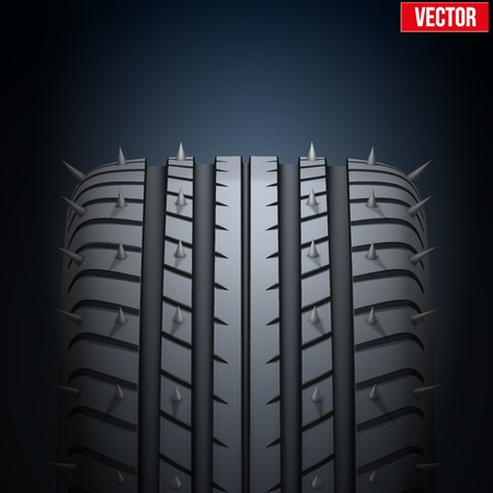 Dark Background of Realistic rubber tires and spikes banner. Front view. Vector Illustration. Vector