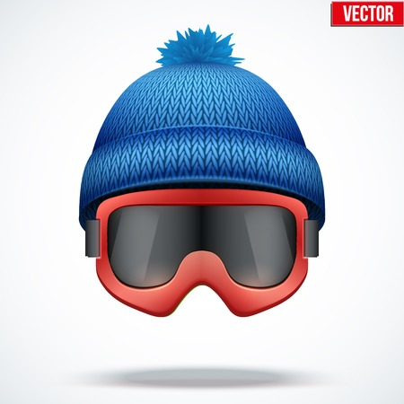 woolen: Knitted woolen blue cap with snow goggles. Winter seasonal sport hat. Vector illustration isolated on white background.