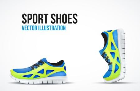 2 つを実行している靴の背景。明るいスポーツ スニーカーのシンボル。ベクトル イラスト。