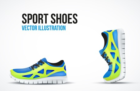 fashion shoes: Background of Two Running shoes. Bright Sport sneakers symbols. Vector illustration.