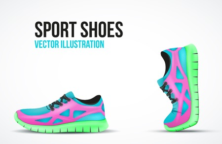 Background of Two Running shoes. Bright Sport sneakers symbols. Vector illustration.