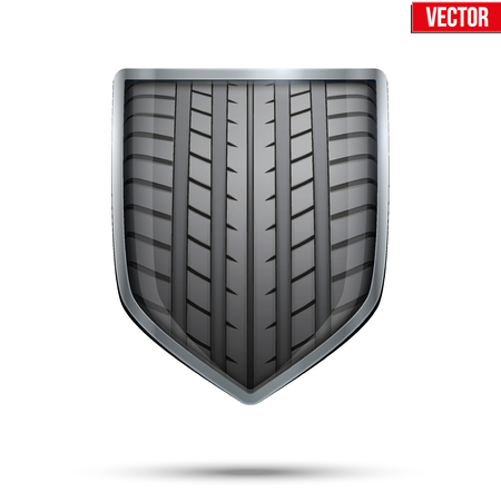 tires: Bright metallic shield in the racing tire inside.  Illustration