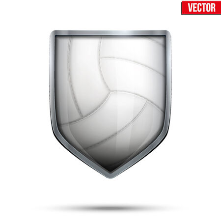 Bright metallic shield in the volleyball ball inside. Vector