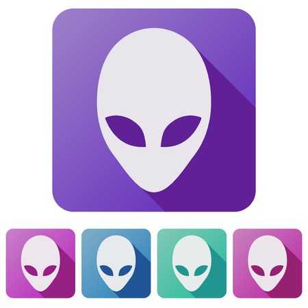 lifeform: Set Flat icons of Alien head creature from another world. Vector illustration isolated on white background. Illustration