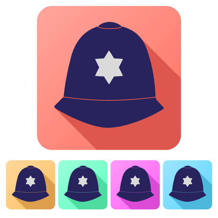 bobby: Set Flat icons of  traditional authentic helmet of metropolitan British police officers. Vector illustration.
