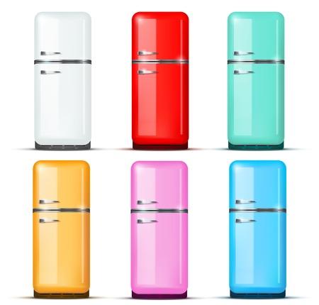 fridge: Set of Retro Fridge refrigerator in white color. Household appliances. Vector isolated on white background