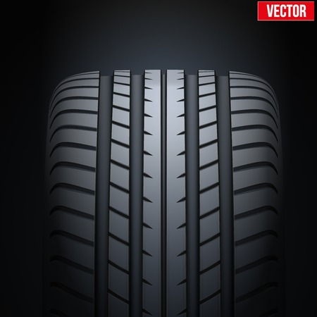 tread: Dark Background of Realistic rubber tires banner. Front view. Vector Illustration. Illustration