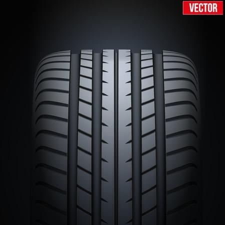 pisar: Fondo Oscuro de los neumáticos de goma realista bandera. Vista frontal. Ilustración del vector.