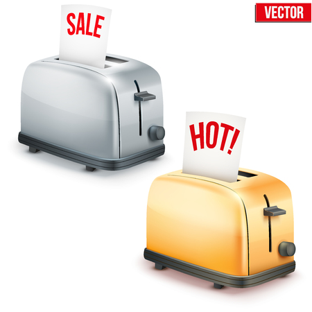 Set of Bright retro colorful Metal Glossy Toasters with message SALE and Hot. Vector illustration isolated on white background.