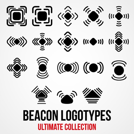 global positioning system: Set of black icons. Indoor positioning system of marketing. Vector Illustration.