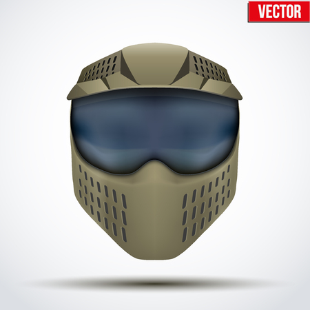 wear mask: Khaki paintball mask with goggles Illustration