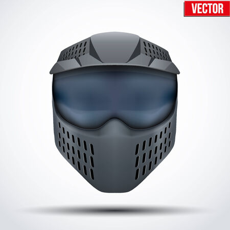 wear mask: Black paintball mask with goggles. Illustration