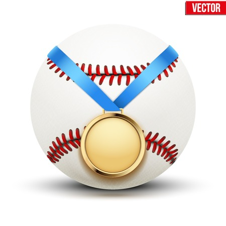 hangs: Sport gold medal with ribbon for winning the baseball hangs on the ball. Illustration