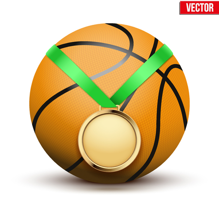 hangs: Sport gold medal with ribbon for winning the basketball hangs on the ball.