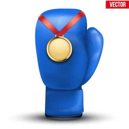 hangs: Sport gold medal with ribbon for winning the boxing hangs on the gloves.