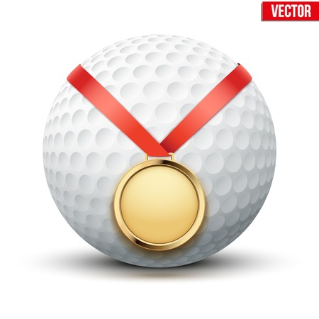 hangs: Sport gold medal with ribbon for winning the golf hangs on the ball.  Illustration