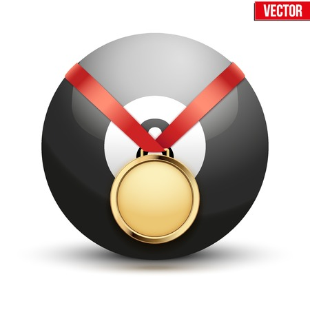 hangs: Sport gold medal with ribbon for winning the pool billiard hangs on the ball.  Illustration