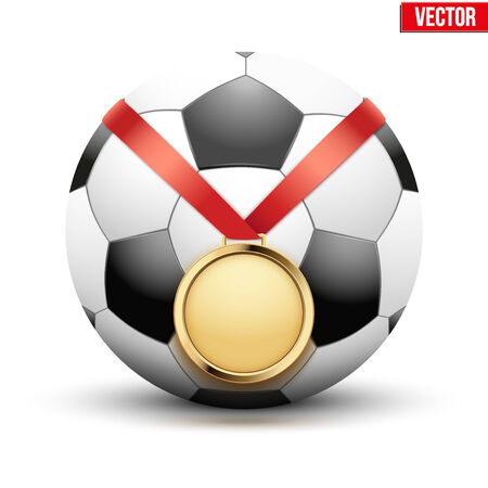 hangs: Sport gold medal with ribbon for winning the football hangs on the ball. Vector Illustration isolated on white background. Illustration