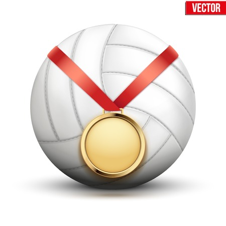 hangs: Sport gold medal with ribbon for winning the volleyball hangs on the ball.