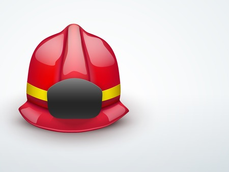 Light Background Red firefighter helmet. Space for badge or emblem.