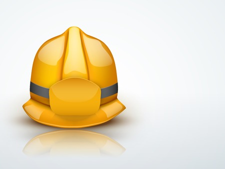 Light Background Gold firefighter helmet. Space for badge or emblem.