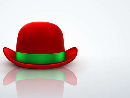 bowler hat: Background of Red bowler hat with silk green ribbon.