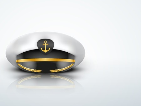 peaked cap: Light Background Captain peaked cap with gold anchor on cockade. Stock Photo