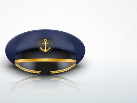 specialities: Light Background Captain peaked cap with gold anchor on cockade. Stock Photo