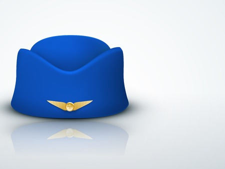 Light Background Stewardess hat of air hostess uniform. Civil aviation and air transport and Travel business. Stock Photo
