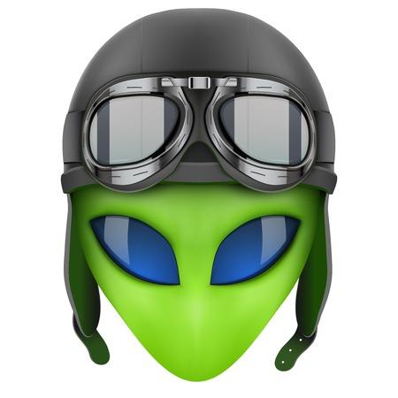 martians: Green Alien head in aviator helmet. Iillustration isolated on white background. Stock Photo