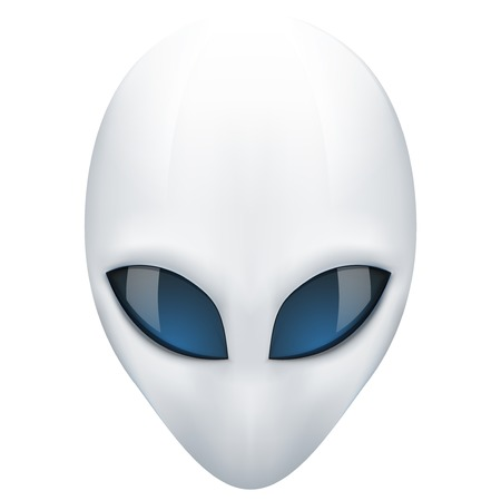 Alien head creature from another world. Illustration isolated on white background.