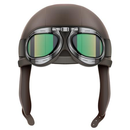 ゴーグルとレトロなフライト パイロット レザー ヘルメット。ヴィンテージのオブジェクト。白地図免
