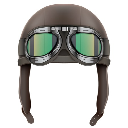 Retro aviator pilot leather helmet with goggles. Vintage object. Illustration Isolated on white 스톡 콘텐츠