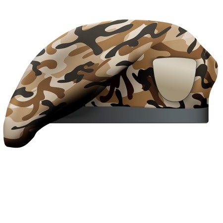 battalion: Military Beret with camo texture of Army Special Forces. Illustration Isolated on white background.