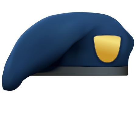 military beret: Military Blue Beret of NAVY Army Special Forces with empty emblem. Illustration Isolated on white background.