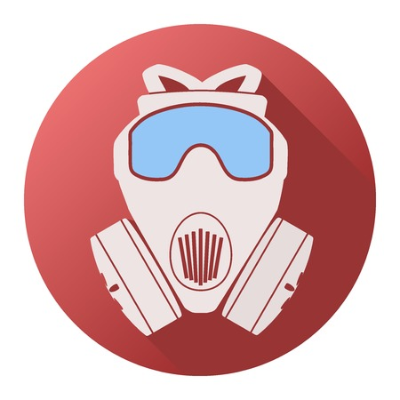 toxins: Flat icon of gas mask respirator. Vector Illustration Isolated on white background.