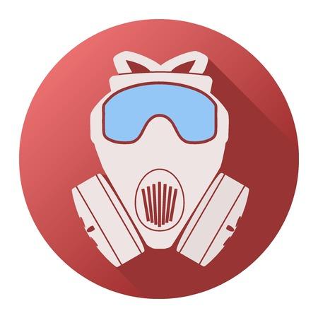 army gas mask: Icono plana de respirador m�scara de gas. Ilustraci�n vectorial aislados en fondo blanco.