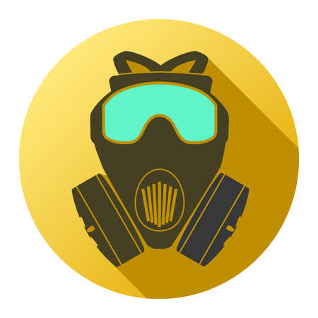 Flat icon of gas mask respirator. Vector Illustration Isolated on white background.