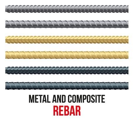 rejas de hierro: Barras de refuerzo sin fin. Acero de refuerzo y compuesto para la construcción. Ilustración vectorial
