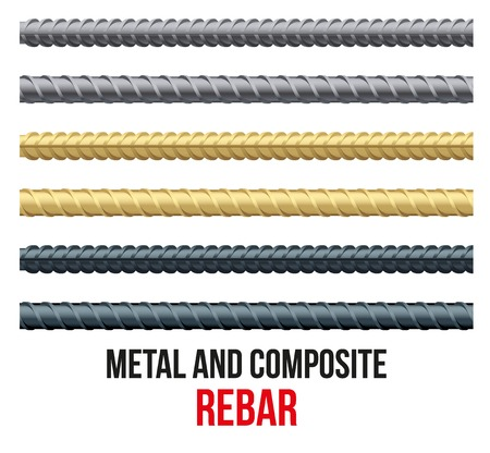 Endless rebars. Reinforcement steel and composite for building. Vector illustration