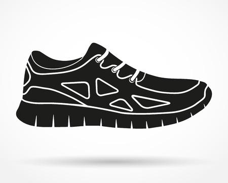 実行している靴やフィットネス スニーカーのシルエットのシンボルです。オリジナルのデザイン。白い背景で隔離されたベクトルのイラスト。