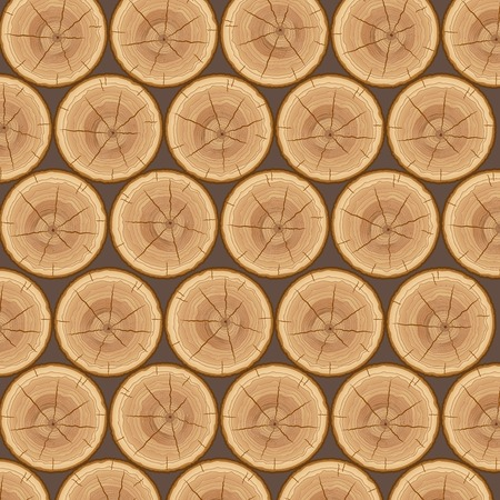 log wall: Pile of wood logs background. Vector Illustration.
